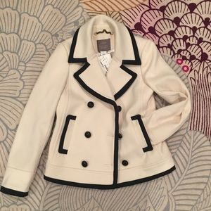 NWT JCREW cream with piping wool jacket!
